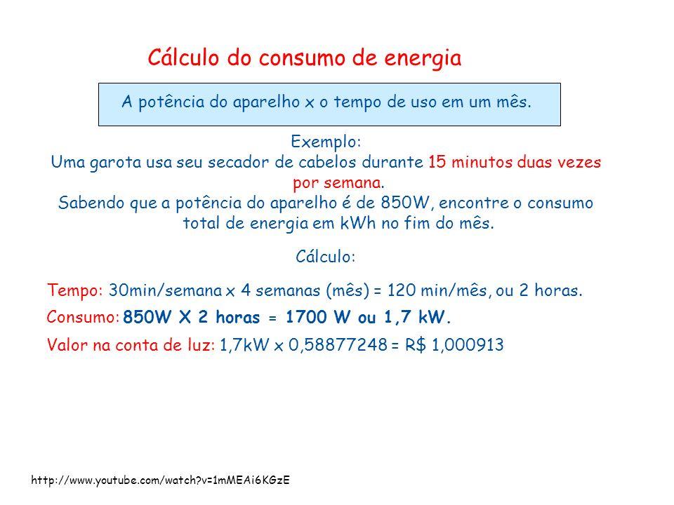 Cálculo do consumo de energia A potência do aparelho x o tempo de uso em um mês. Exemplo: Uma garota usa seu secador de cabelos durante 15 minutos dua