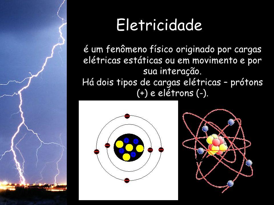 Eletricidade é um fenômeno físico originado por cargas elétricas estáticas ou em movimento e por sua interação. Há dois tipos de cargas elétricas – pr