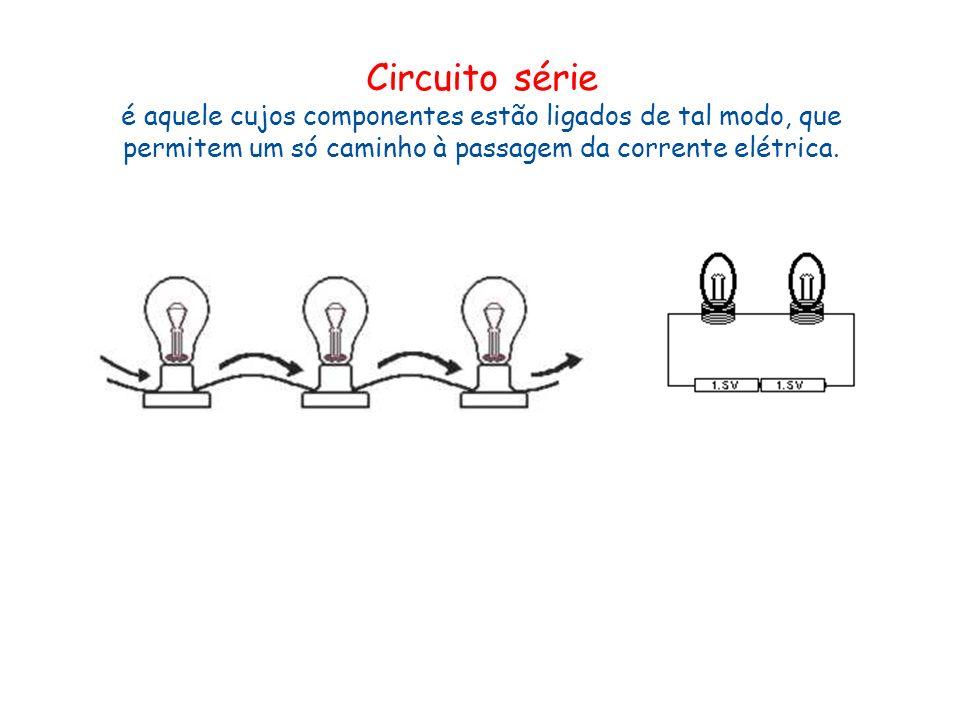 Circuito série é aquele cujos componentes estão ligados de tal modo, que permitem um só caminho à passagem da corrente elétrica.
