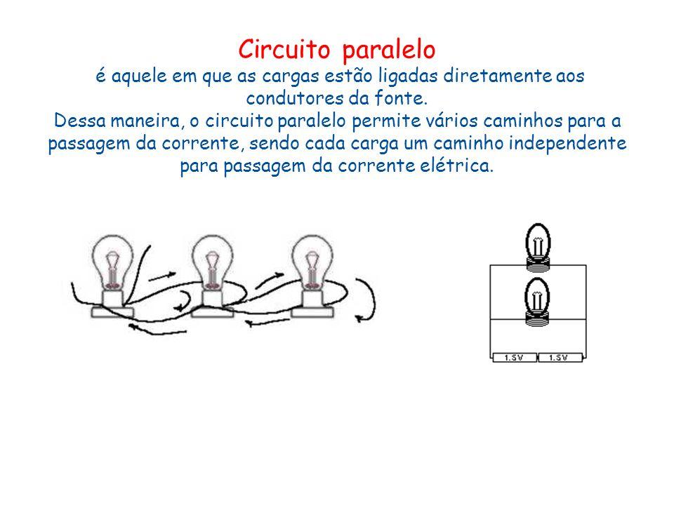 Circuito paralelo é aquele em que as cargas estão ligadas diretamente aos condutores da fonte. Dessa maneira, o circuito paralelo permite vários camin