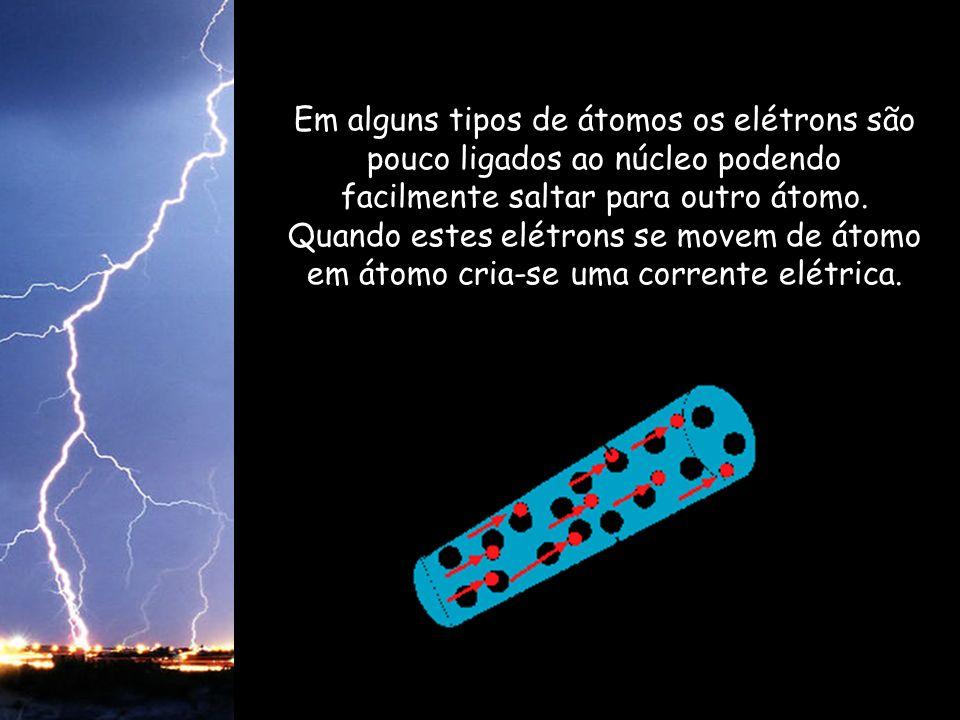 Em alguns tipos de átomos os elétrons são pouco ligados ao núcleo podendo facilmente saltar para outro átomo. Quando estes elétrons se movem de átomo