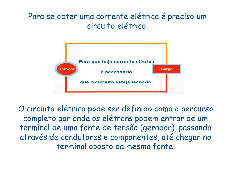 Para se obter uma corrente elétrica é preciso um circuito elétrico. O circuito elétrico pode ser definido como o percurso completo por onde os elétron