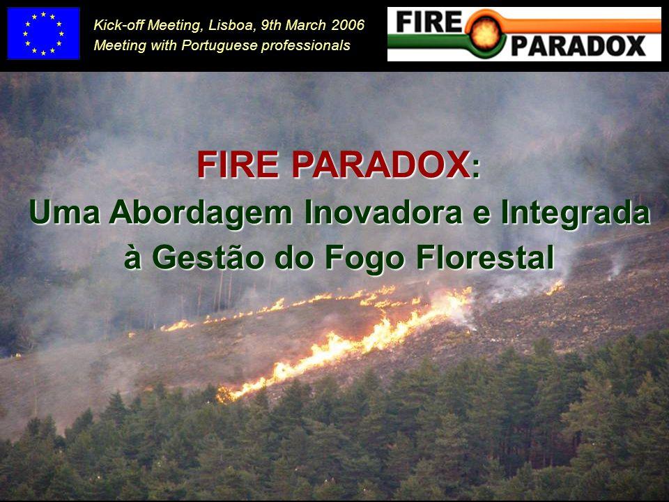 Módulo 5: Avaliação e cartografia de risco de incêndio Desenvolver ferramentas eficientes que considerem as componentes espacial e temporal Domínio: Desenvolvimento (1) WP 5.1.