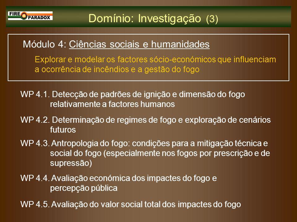 Módulo 4: Ciências sociais e humanidades Explorar e modelar os factores sócio-económicos que influenciam a ocorrência de incêndios e a gestão do fogo