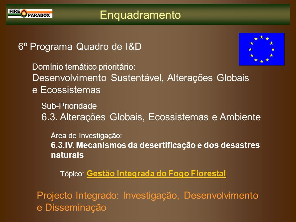 Tópico: Gestão Integrada do Fogo Florestal Projecto Integrado: Investigação, Desenvolvimento e Disseminação 6º Programa Quadro de I&D Domínio temático
