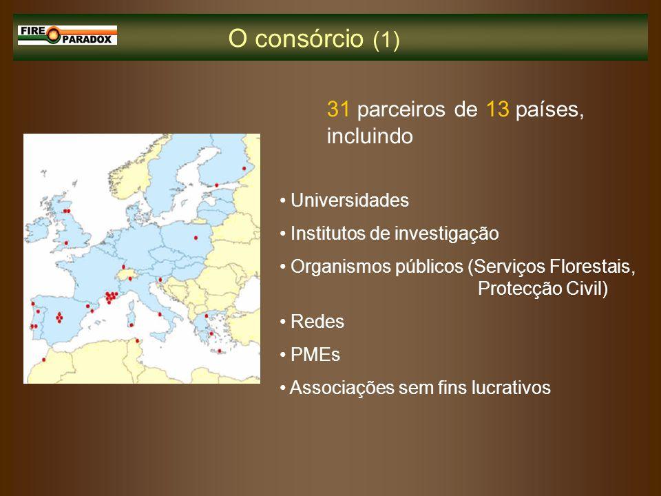 O consórcio (1) 31 parceiros de 13 países, incluindo Universidades Institutos de investigação Organismos públicos (Serviços Florestais, Protecção Civi