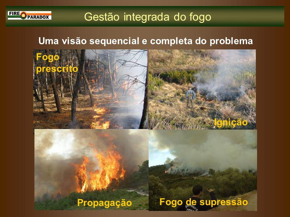 Gestão integrada do fogo Uma visão sequencial e completa do problema Fogo prescrito Ignição Propagação Fogo de supressão