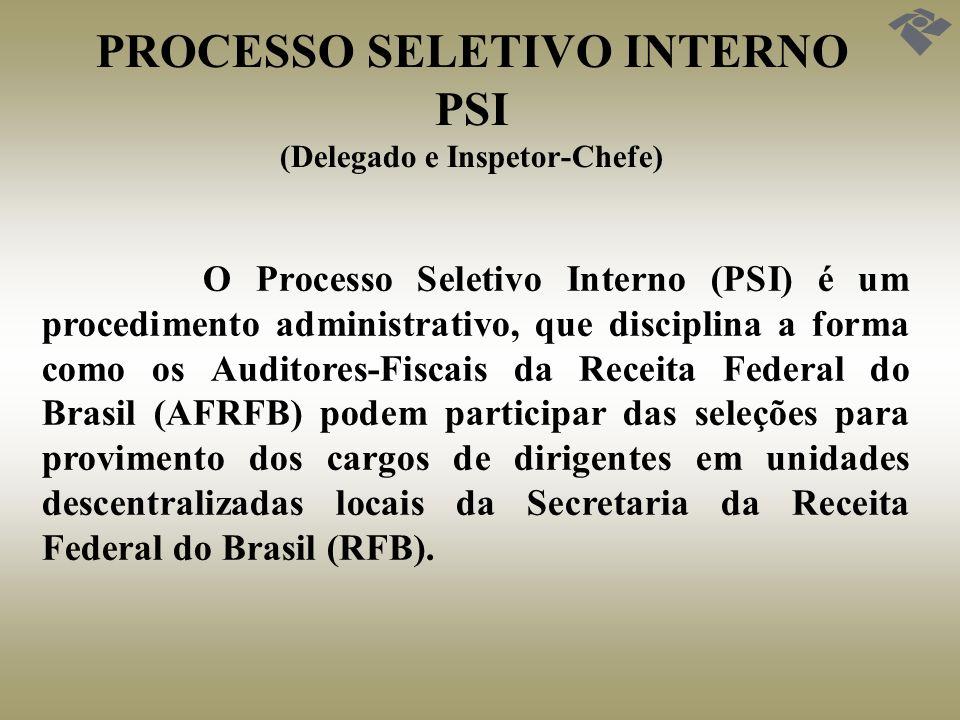 PROCESSO SELETIVO INTERNO PSI (Delegado e Inspetor-Chefe) O Processo Seletivo Interno (PSI) é um procedimento administrativo, que disciplina a forma c