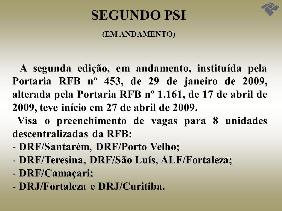 SEGUNDO PSI (EM ANDAMENTO) A segunda edição, em andamento, instituída pela Portaria RFB nº 453, de 29 de janeiro de 2009, alterada pela Portaria RFB n