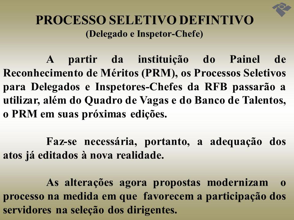 PROCESSO SELETIVO DEFINTIVO (Delegado e Inspetor-Chefe) A partir da instituição do Painel de Reconhecimento de Méritos (PRM), os Processos Seletivos p