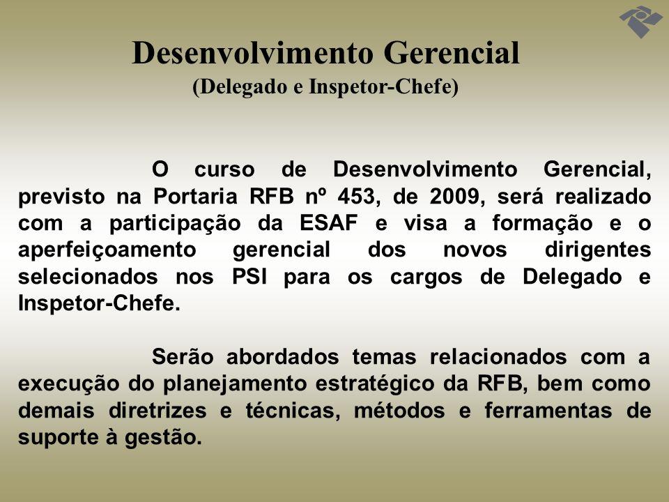Desenvolvimento Gerencial (Delegado e Inspetor-Chefe) O curso de Desenvolvimento Gerencial, previsto na Portaria RFB nº 453, de 2009, será realizado c