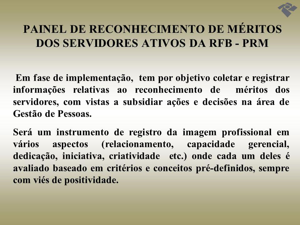 PAINEL DE RECONHECIMENTO DE MÉRITOS DOS SERVIDORES ATIVOS DA RFB - PRM Os méritos constantes no PRM serão obtidos a partir de três perspectivas: experiência profissional; formação técnico-acadêmica e reconhecimento pelos servidores da RFB.
