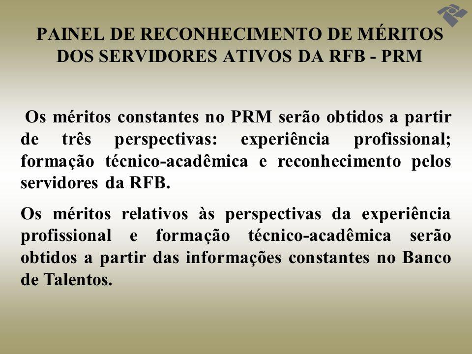 PAINEL DE RECONHECIMENTO DE MÉRITOS DOS SERVIDORES ATIVOS DA RFB - PRM Os méritos constantes no PRM serão obtidos a partir de três perspectivas: exper