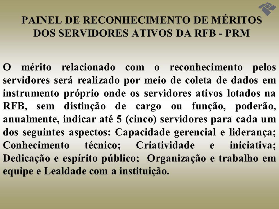 PAINEL DE RECONHECIMENTO DE MÉRITOS DOS SERVIDORES ATIVOS DA RFB - PRM A forma de utilização do PRM nos diversos processos de gestão de pessoas será disciplinada em instrumentos próprios que os instituírem.