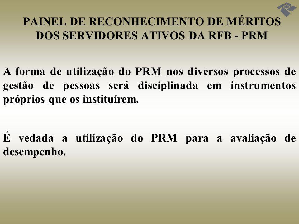 PAINEL DE RECONHECIMENTO DE MÉRITOS DOS SERVIDORES ATIVOS DA RFB - PRM A forma de utilização do PRM nos diversos processos de gestão de pessoas será d