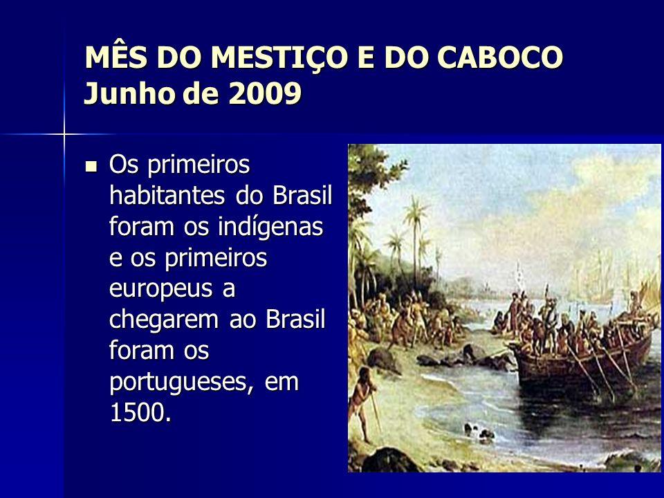 MÊS DO MESTIÇO E DO CABOCO Junho de 2009 Das uniões entre portugueses e indígenas surgiram os primeiros mestiços: os cabocos ou mamelucos Das uniões entre portugueses e indígenas surgiram os primeiros mestiços: os cabocos ou mamelucos