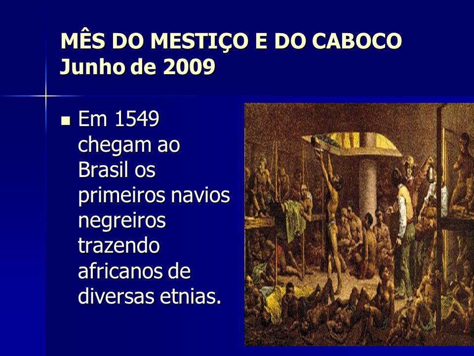 MÊS DO MESTIÇO E DO CABOCO Junho de 2009 Em 1549 chegam ao Brasil os primeiros navios negreiros trazendo africanos de diversas etnias. Em 1549 chegam