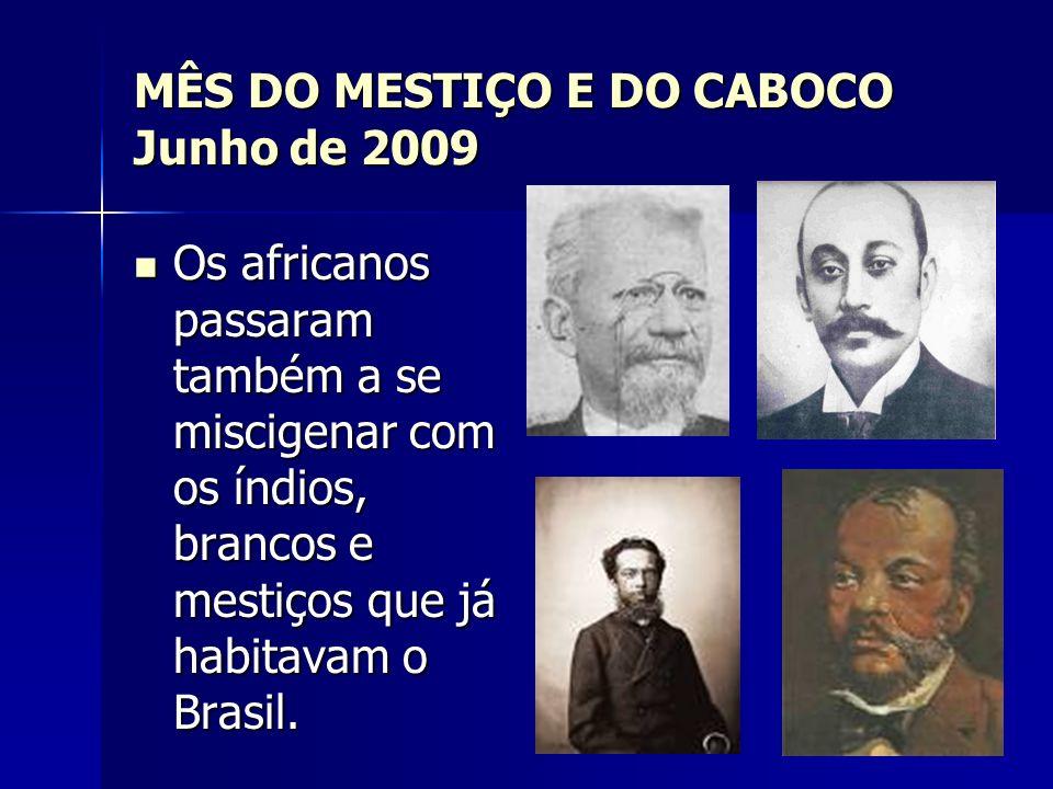 MÊS DO MESTIÇO E DO CABOCO Junho de 2009 Os africanos passaram também a se miscigenar com os índios, brancos e mestiços que já habitavam o Brasil. Os