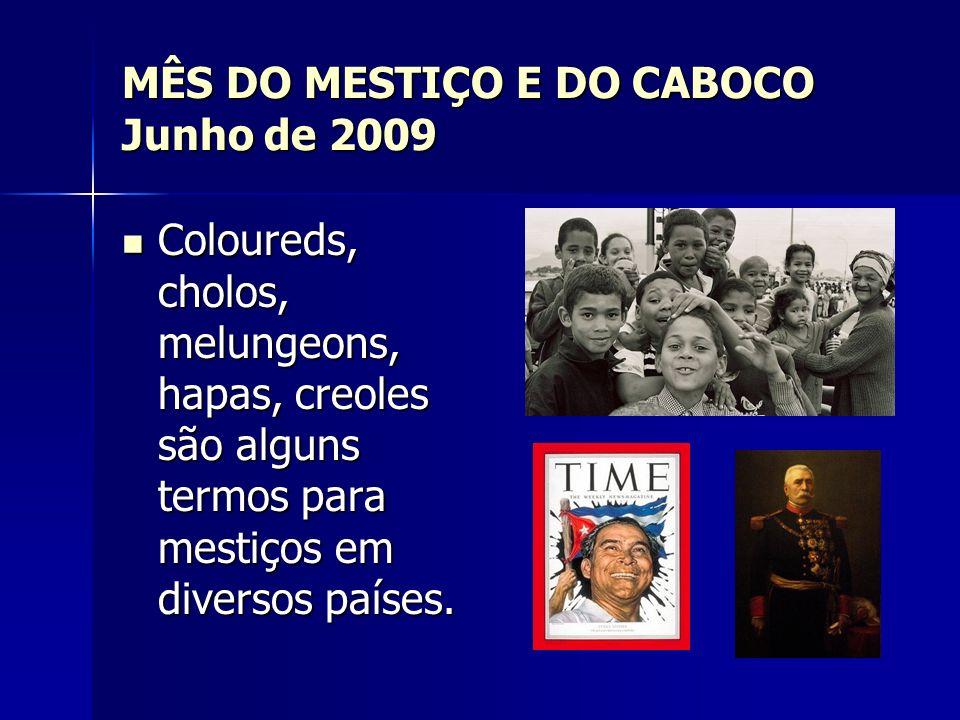 MÊS DO MESTIÇO E DO CABOCO Junho de 2009 Coloureds, cholos, melungeons, hapas, creoles são alguns termos para mestiços em diversos países. Coloureds,
