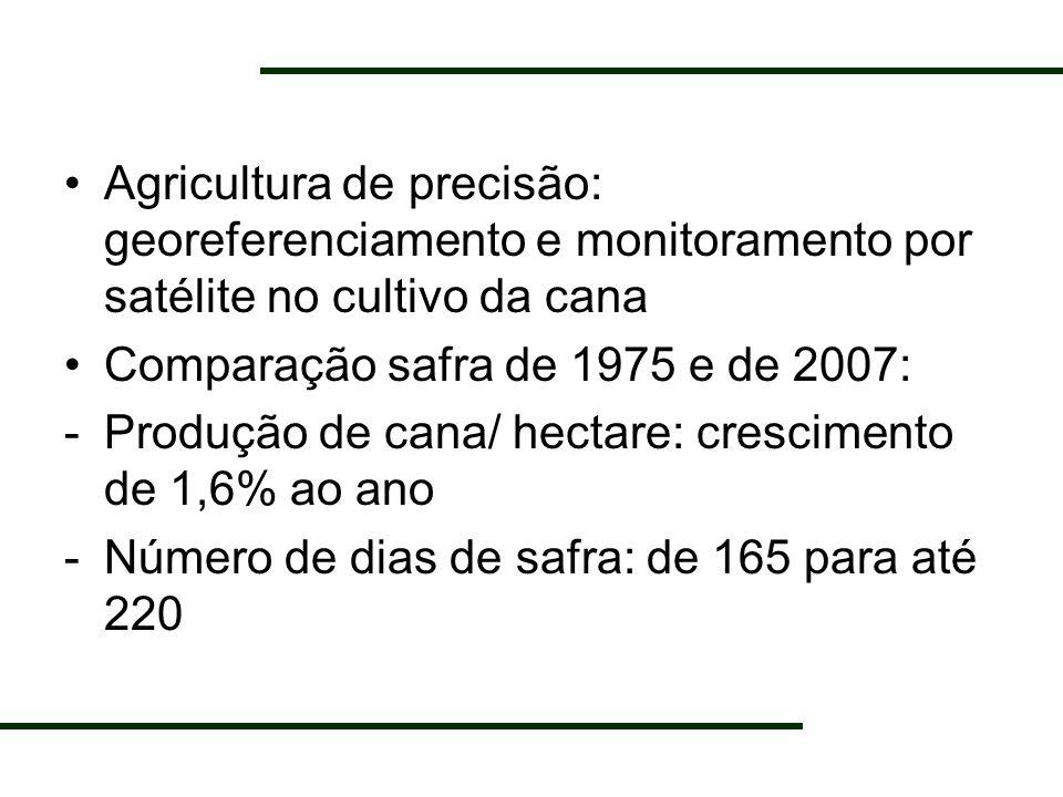 Agricultura de precisão: georeferenciamento e monitoramento por satélite no cultivo da cana Comparação safra de 1975 e de 2007: -Produção de cana/ hec