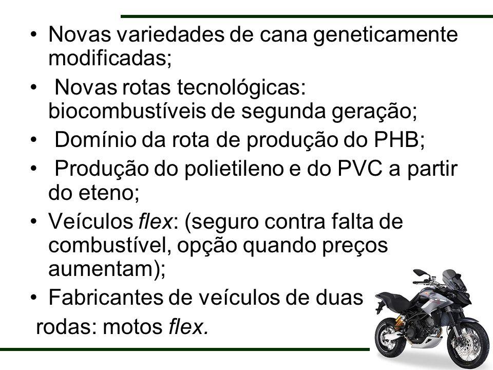 Novas variedades de cana geneticamente modificadas; Novas rotas tecnológicas: biocombustíveis de segunda geração; Domínio da rota de produção do PHB;