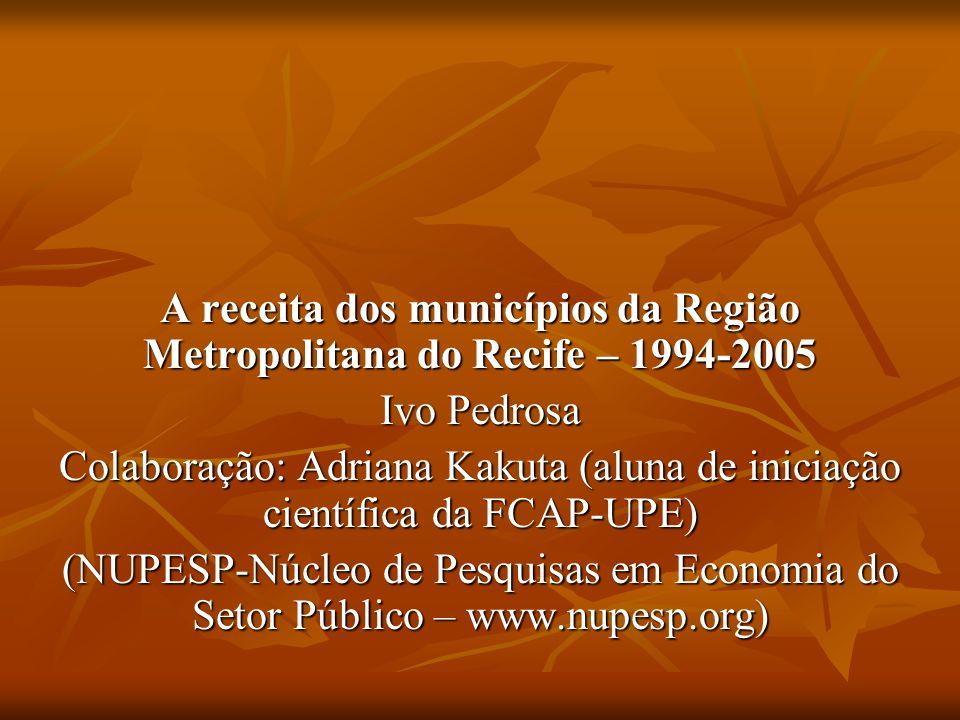 A receita dos municípios da Região Metropolitana do Recife – 1994-2005 Ivo Pedrosa Colaboração: Adriana Kakuta (aluna de iniciação científica da FCAP-