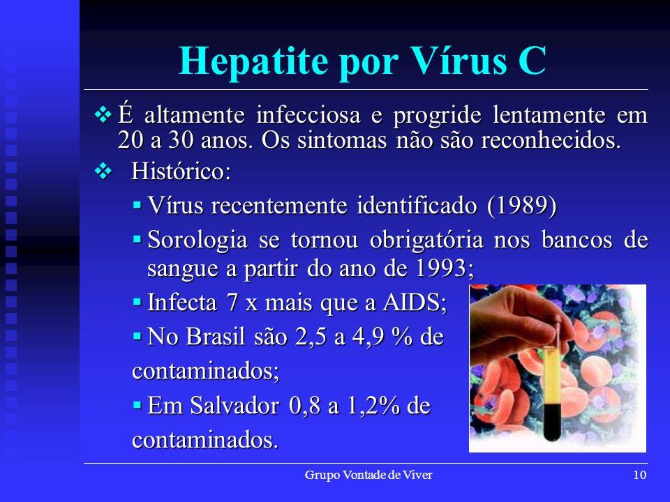 Grupo Vontade de Viver10 Hepatite por Vírus C É altamente infecciosa e progride lentamente em 20 a 30 anos. Os sintomas não são reconhecidos. É altame
