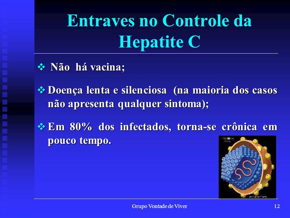 Grupo Vontade de Viver13 Transmissão da Hepatite C O virus C só é trasmitio pelo SANGUE ou seus derivados.