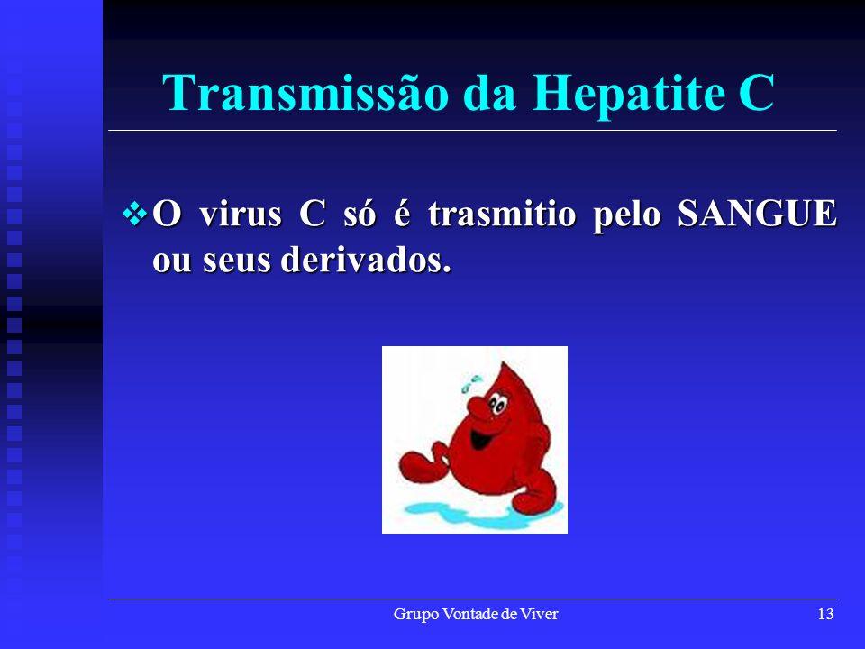 Grupo Vontade de Viver13 Transmissão da Hepatite C O virus C só é trasmitio pelo SANGUE ou seus derivados. O virus C só é trasmitio pelo SANGUE ou seu