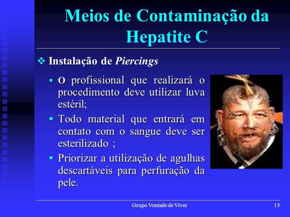 Grupo Vontade de Viver15 Meios de Contaminação da Hepatite C O profissional que realizará o procedimento deve utilizar luva estéril; O profissional qu