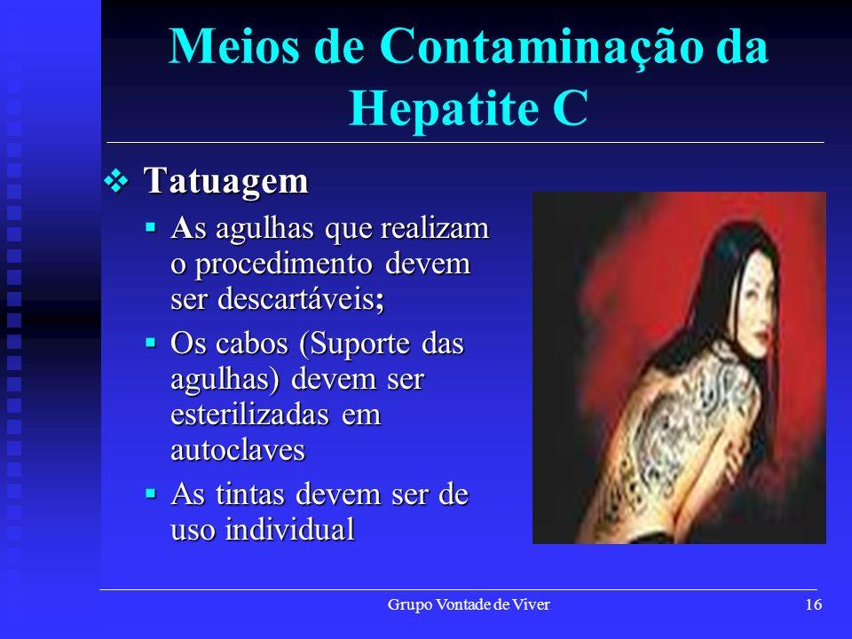 Grupo Vontade de Viver16 Meios de Contaminação da Hepatite C Tatuagem Tatuagem As agulhas que realizam o procedimento devem ser descartáveis; As agulh