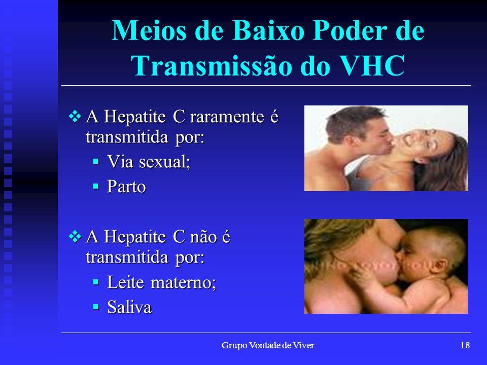 Grupo Vontade de Viver18 Meios de Baixo Poder de Transmissão do VHC A Hepatite C raramente é transmitida por: A Hepatite C raramente é transmitida por