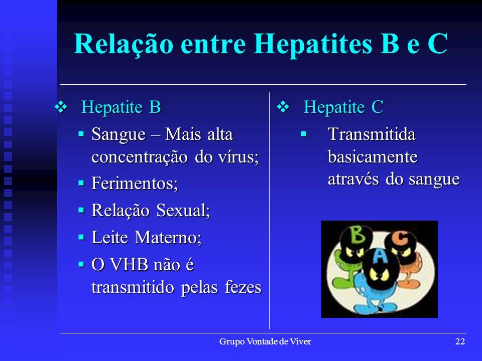 Grupo Vontade de Viver22 Relação entre Hepatites B e C Hepatite B Hepatite B Sangue – Mais alta concentração do vírus; Sangue – Mais alta concentração