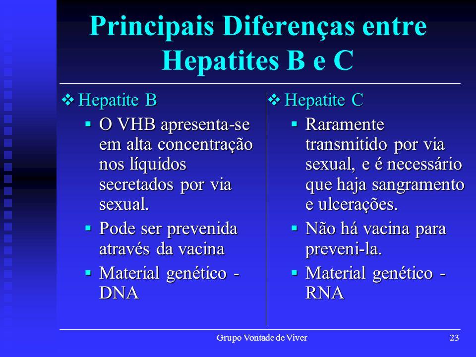 Grupo Vontade de Viver23 Hepatite B Hepatite B O VHB apresenta-se em alta concentração nos líquidos secretados por via sexual. O VHB apresenta-se em a