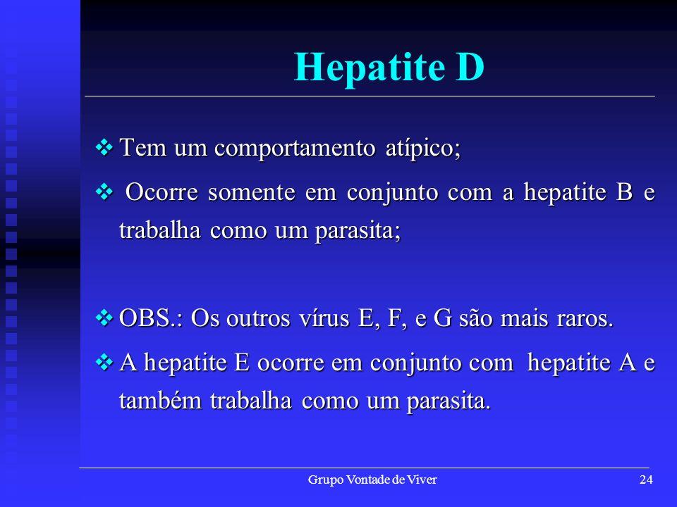 Grupo Vontade de Viver24 Hepatite D Tem um comportamento atípico; Tem um comportamento atípico; Ocorre somente em conjunto com a hepatite B e trabalha