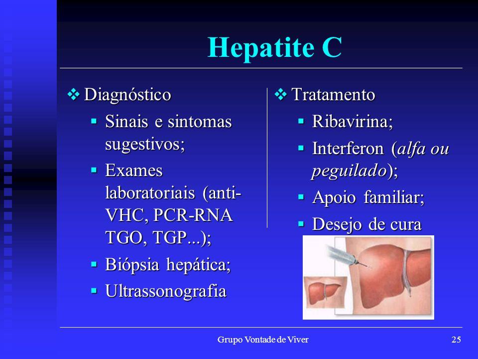 Grupo Vontade de Viver25 Hepatite C Diagnóstico Diagnóstico Sinais e sintomas sugestivos; Sinais e sintomas sugestivos; Exames laboratoriais (anti- VH