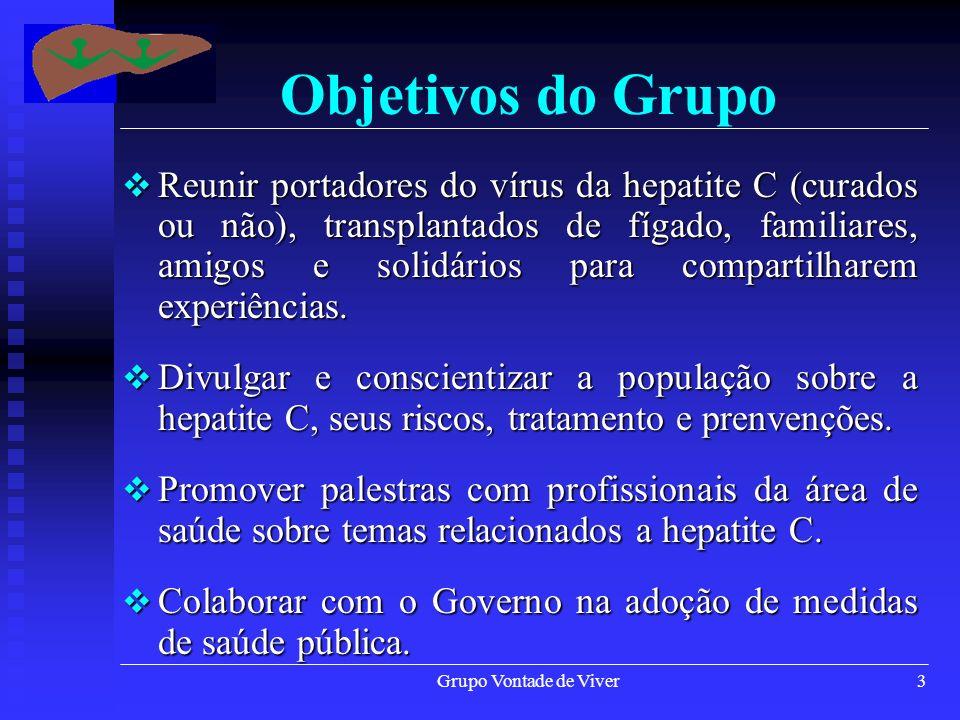Grupo Vontade de Viver3 Objetivos do Grupo Reunir portadores do vírus da hepatite C (curados ou não), transplantados de fígado, familiares, amigos e s