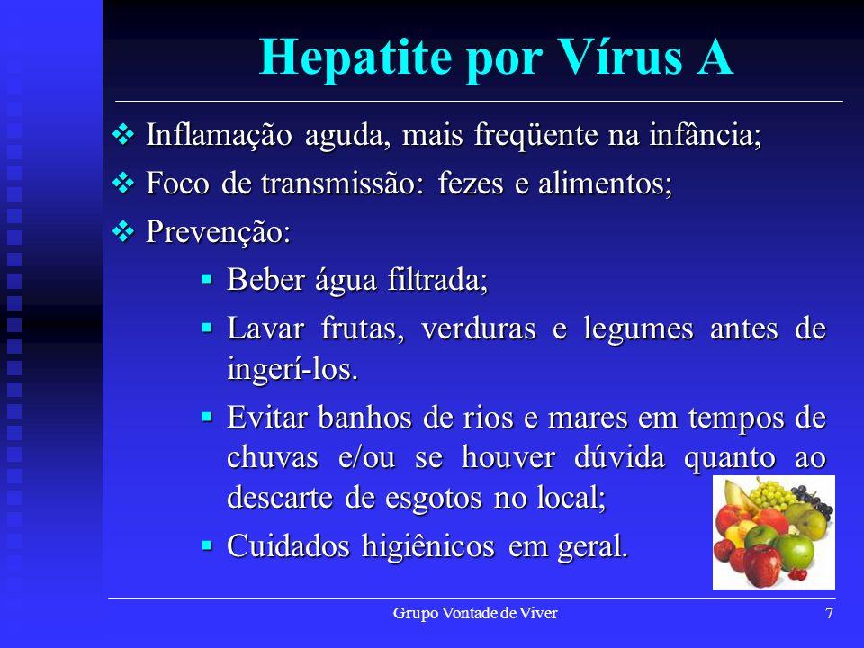 Grupo Vontade de Viver7 Hepatite por Vírus A Inflamação aguda, mais freqüente na infância; Inflamação aguda, mais freqüente na infância; Foco de trans