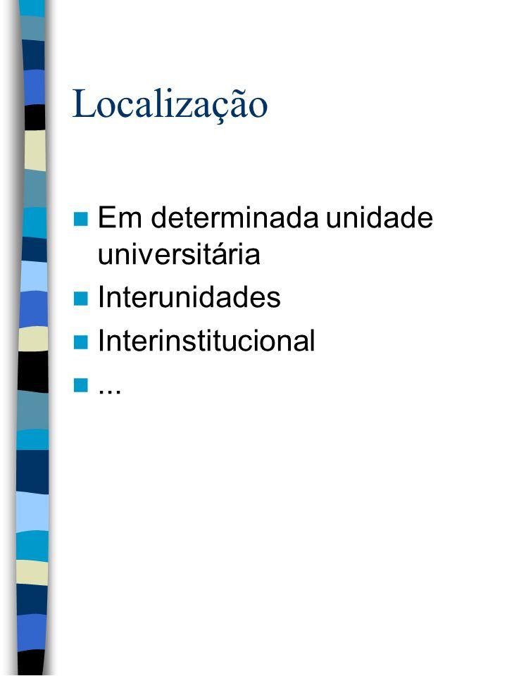 Localização Em determinada unidade universitária Interunidades Interinstitucional...