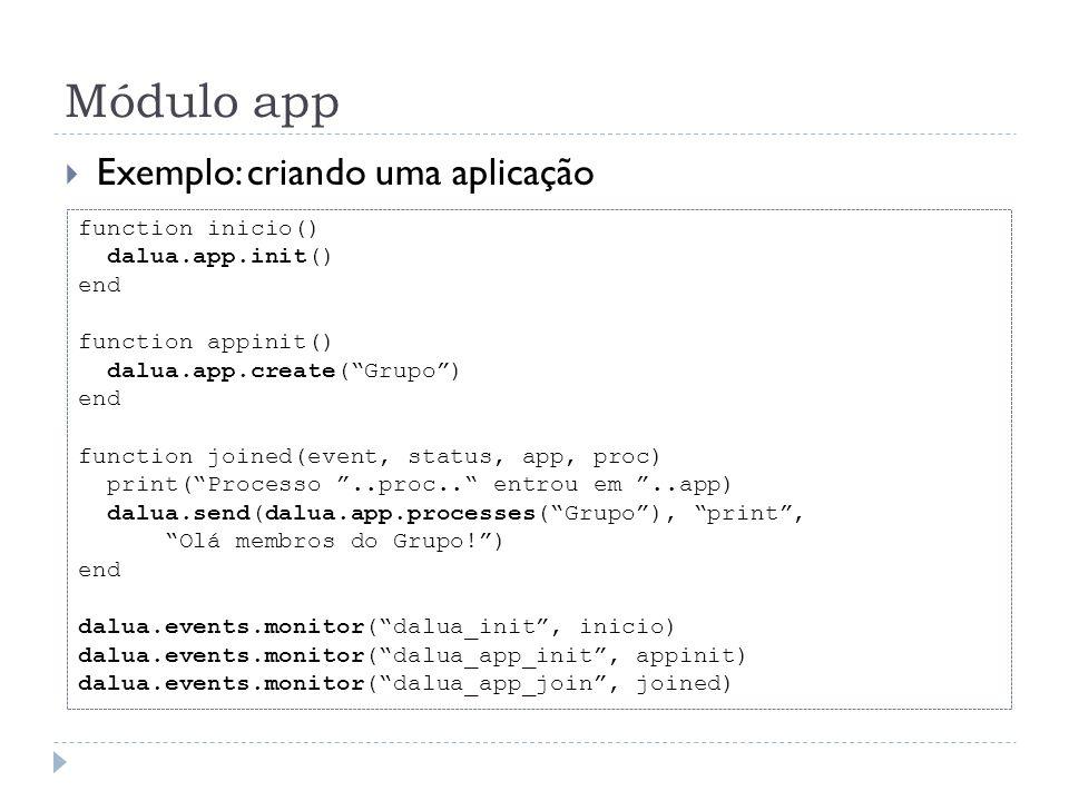 Módulo app Exemplo: criando uma aplicação function inicio() dalua.app.init() end function appinit() dalua.app.create(Grupo) end function joined(event,