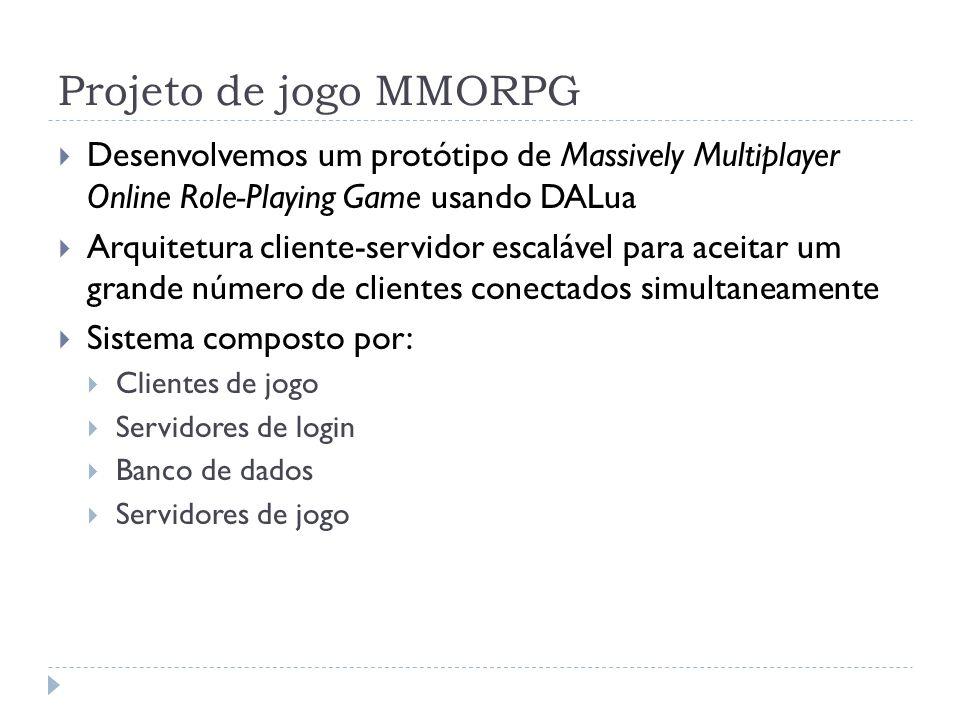 Projeto de jogo MMORPG Desenvolvemos um protótipo de Massively Multiplayer Online Role-Playing Game usando DALua Arquitetura cliente-servidor escaláve