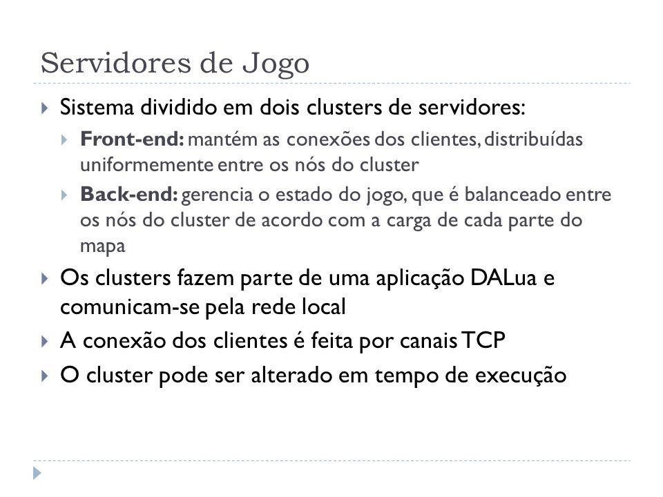 Servidores de Jogo Sistema dividido em dois clusters de servidores: Front-end: mantém as conexões dos clientes, distribuídas uniformemente entre os nó