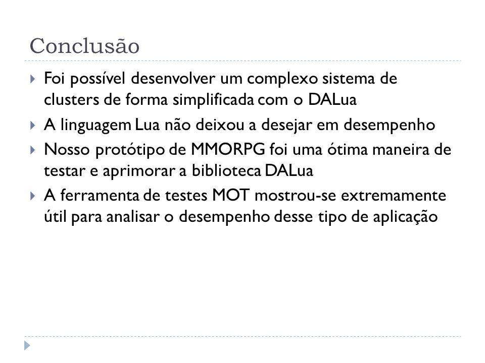 Conclusão Foi possível desenvolver um complexo sistema de clusters de forma simplificada com o DALua A linguagem Lua não deixou a desejar em desempenh