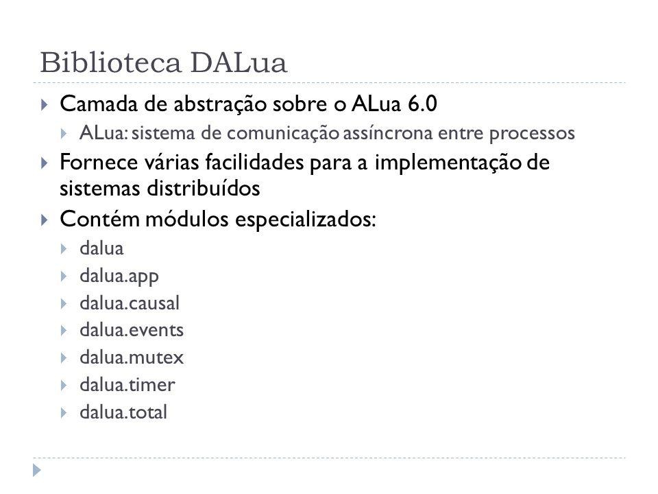 Biblioteca DALua Cada máquina pode executar vários processos DALua Os processos são identificados por uma string única (ex.: 2@192.168.0.1) A rede DALua é totalmente conectada (não há roteamento) É possível comunicar-se com processos que não usam DALua através de canais TCP