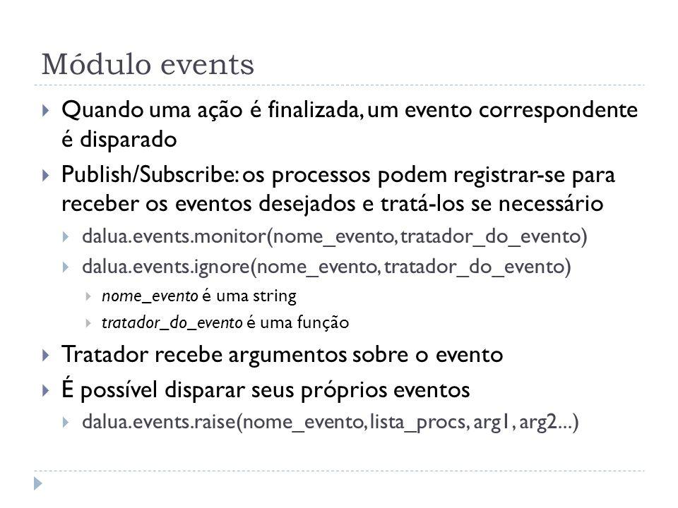 Módulo events Quando uma ação é finalizada, um evento correspondente é disparado Publish/Subscribe: os processos podem registrar-se para receber os ev