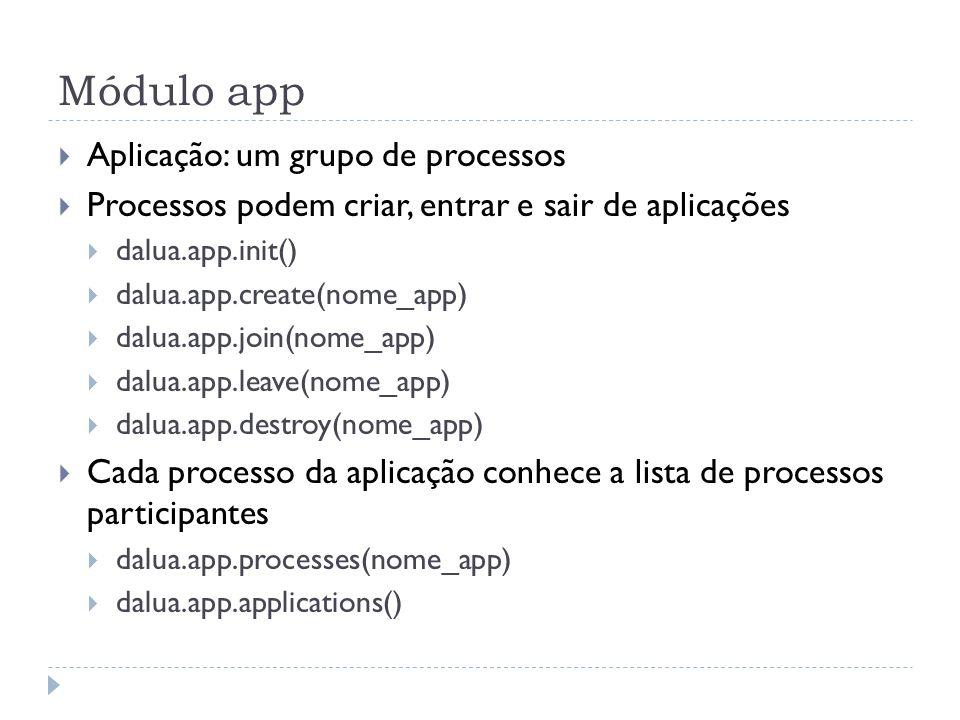Módulo app Exemplo: criando uma aplicação function inicio() dalua.app.init() end function appinit() dalua.app.create(Grupo) end function joined(event, status, app, proc) print(Processo..proc..