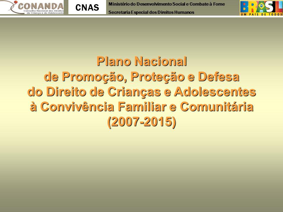 Ministério do Desenvolvimento Social e Combate à Fome Secretaria Especial dos Direitos Humanos CNAS Plano Nacional de Promoção, Proteção e Defesa do D