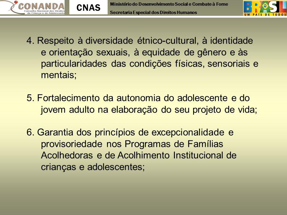 Ministério do Desenvolvimento Social e Combate à Fome Secretaria Especial dos Direitos Humanos CNAS 4. Respeito à diversidade étnico-cultural, à ident