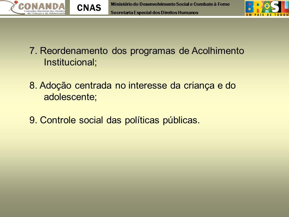 Ministério do Desenvolvimento Social e Combate à Fome Secretaria Especial dos Direitos Humanos CNAS 7. Reordenamento dos programas de Acolhimento Inst