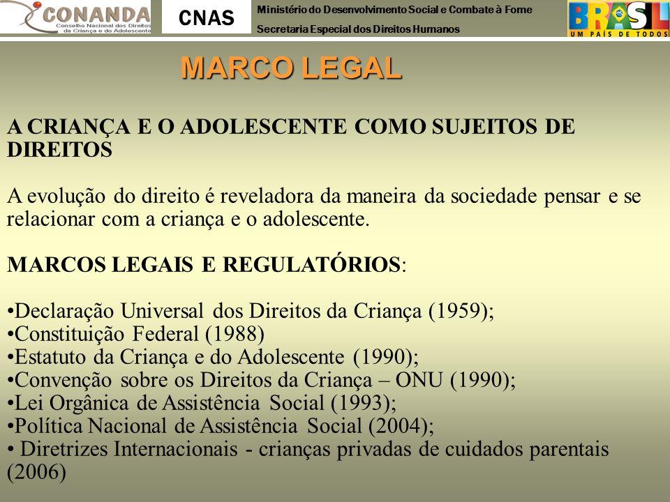 Ministério do Desenvolvimento Social e Combate à Fome Secretaria Especial dos Direitos Humanos CNAS MARCO LEGAL MARCO LEGAL A CRIANÇA E O ADOLESCENTE